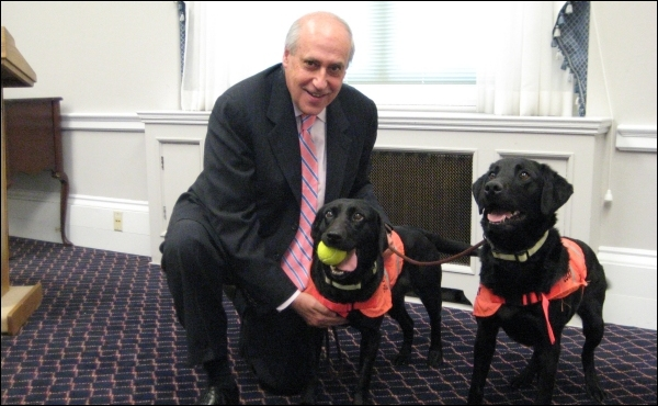 Dan with DVD sniffer dogs Lucky and Flo.